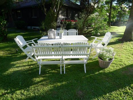White group of garden furniture