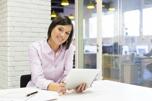Female pc tablet desk e-mail