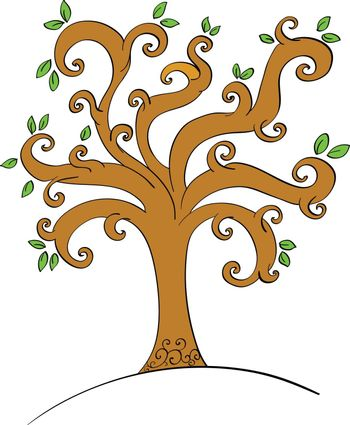 Illustration of a tree with leaves