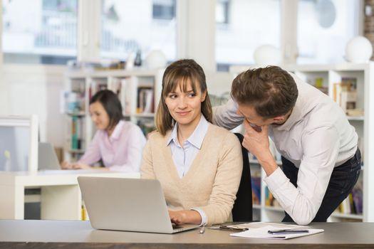Business Woman man seduce working desk