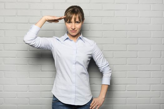 Female casual serious studio wall  grey gesture isolated