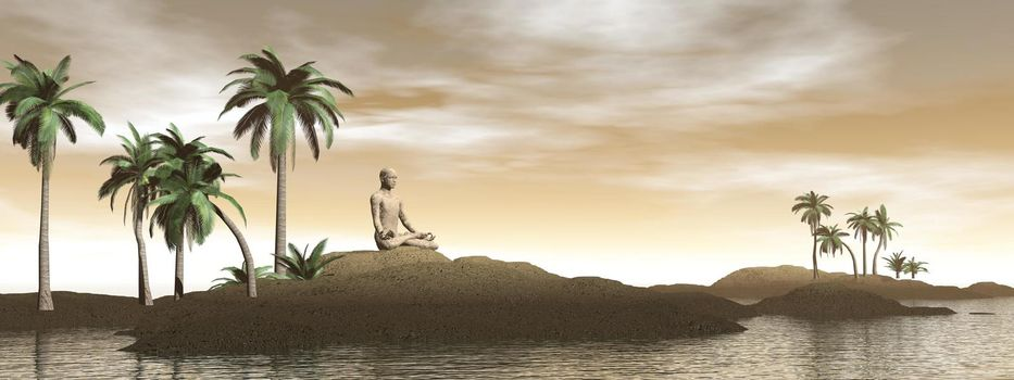 Man meditating on a tropical island with palm trees by brown day