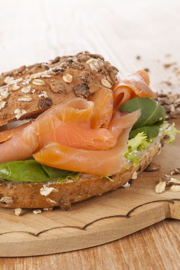 Salmon bagel detail with fresh salmon. Healthy american eating.