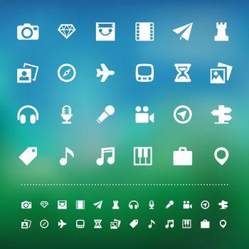 Retina travel and entertainment icon set