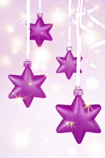 hanging shiny sparking christmas star decoration background