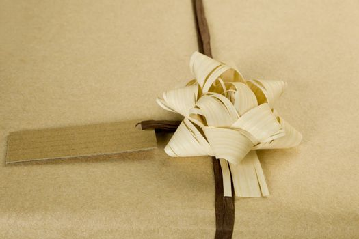 Beautifully naturally wrapped gift with name tag.