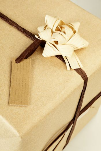 Beautifully naturally wrapped gift with label and copyspace.