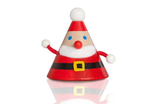 Christmas. Santa claus wooden figure isolated on white background with clipping path. Xmas concept.