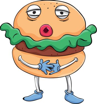 Illustration of comical cartoon food