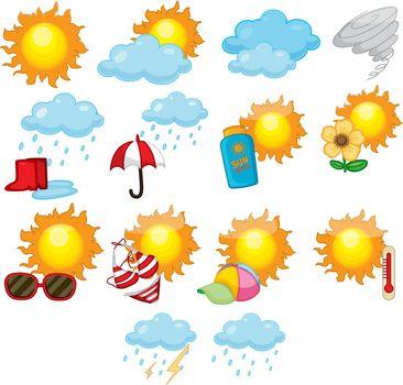 Illustration of mixed weather symbols