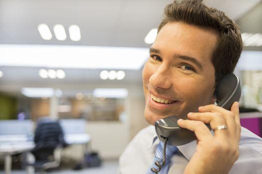 Man business desk office telephone