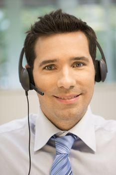 Male  business talk call center operator