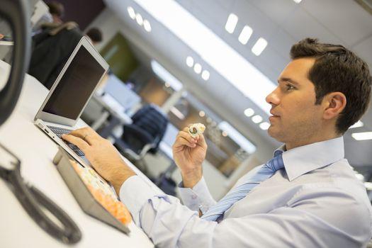 Man lunch office computer work Breakfast