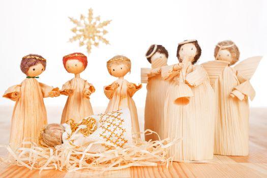 Christmas crib. Light wooden concept.