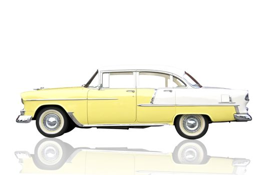 Old antique shiny yellow metallic car isolate on white with clipping mask.