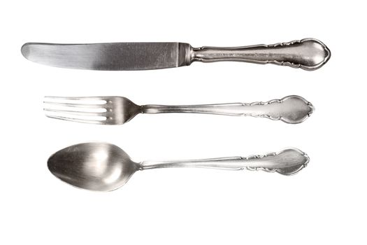 Antique cutlery isolated.