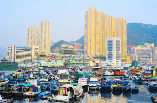 Aberdeen, famous floating village in Hong Kong