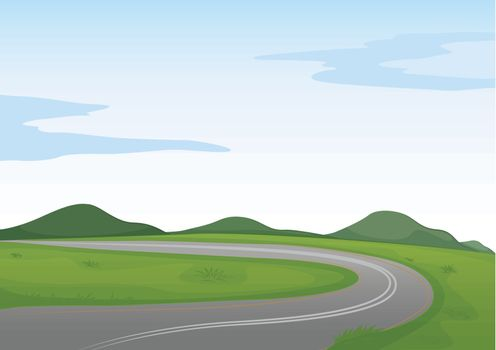 illustration of a green landscape and a road