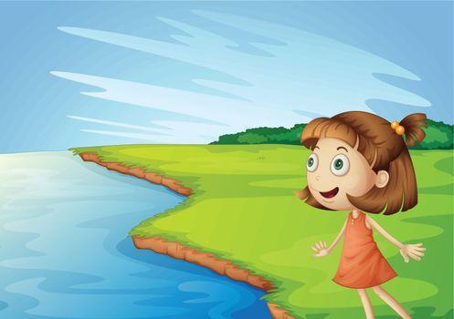 Illustration of girl looking across in a field