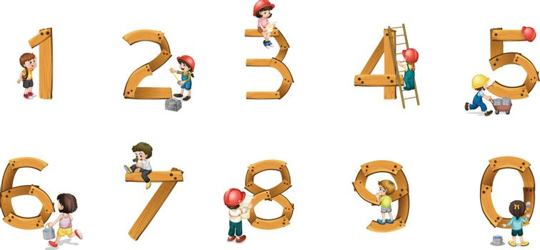 illustration of  numbers on a white background