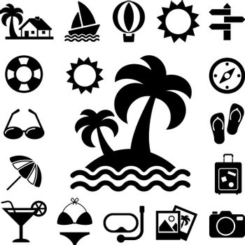 Travel and vacation Icons set .Illustration eps10