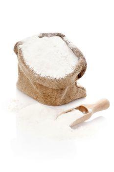 Burlap sack with flour.