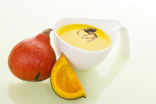 Seasonal autumn soup. Pumpkin soup.