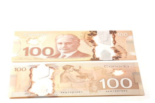 recto and verso 100 dollars Canadian bank notes in polymer