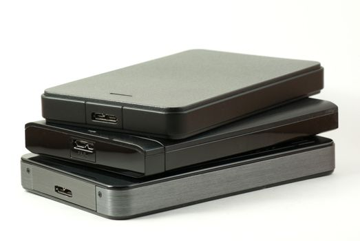 Three USB 3 external hard drive stacked