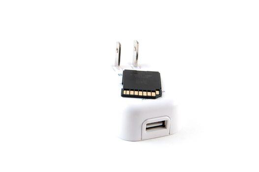 Wall plug USB and an SD memory card