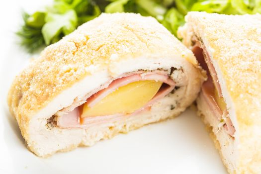 Cordon bleu - chicken cutlet stuffed with ham and cheese