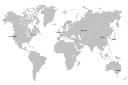 World map isolated on white.