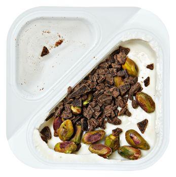 Peach Flavored Greek Yogurt with Pstachio and Chocolate Sprinkle