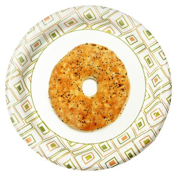 Disposable Paper Plate with Everything Flat Bagel Over White