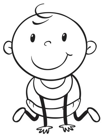 Young baby in black and white outline