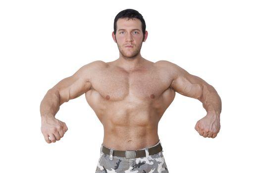Huge shirtless bodybuilder posing isolated on white background. Extreme fitness background.