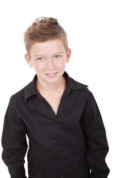 Charming boy smiling isolated on white background.