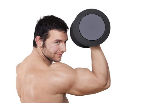 Attractive shirtless bodybuilder lifting dumbbell isolated on white background. Muscle and bodybuilding concept.