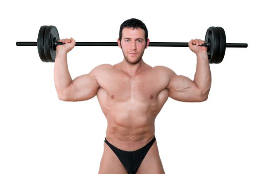 Sexy bodybuilder lifting barbell isolated on white background. Sports and fitness concept.