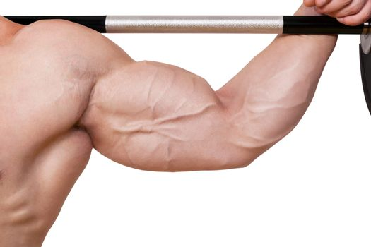 Fitness background. Male caucasian bodybuilder with big biceps holding barbell isolated on white background.