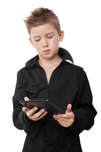 Casual boy with black dress shirt and cool haircut holding tablet isolated on white background.