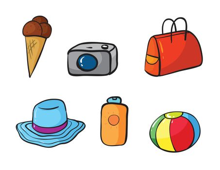 illustration of various objects in white background