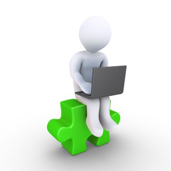 3d person with a laptop is sitting on a puzzle piece