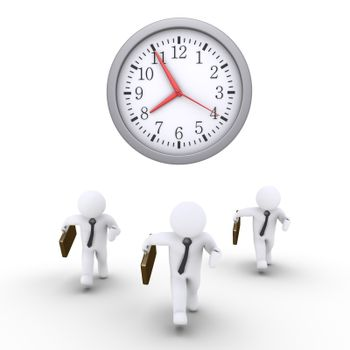 Three businessmen are running and a round clock