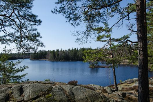 View point at a calm lake