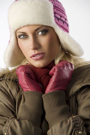 close up of girl with pink hat