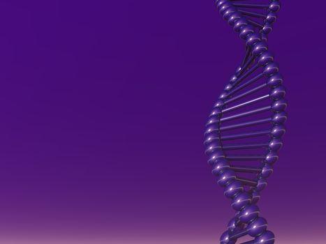DNA strand on violet background - 3d illustration