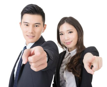 Business man and woman point at you