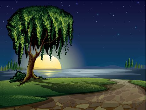 illustration of a green landscape and lake in night