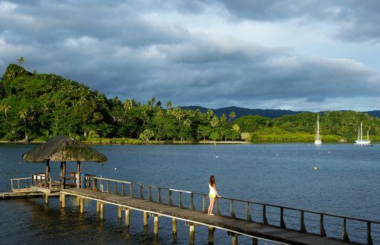 Wooden pier at Savusavu harbor, Vanua Levu island, Fiji